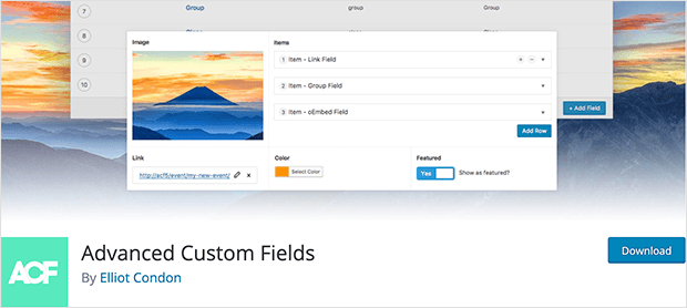 Advanced custom fields plugin