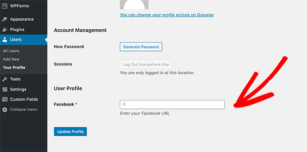Custom user profile field for Facebook