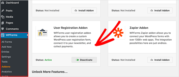 User registration form addon WPForms