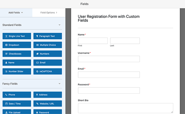 User registration form builder