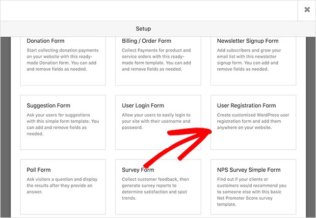 User registration form template
