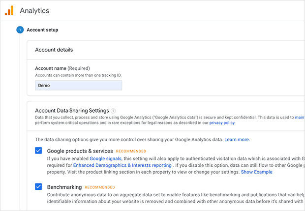 Google Analytics account data sharing settings