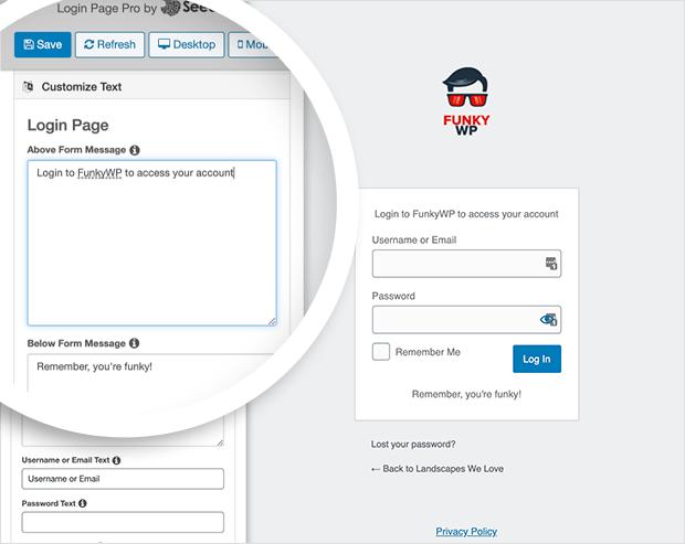 Customize your login form text