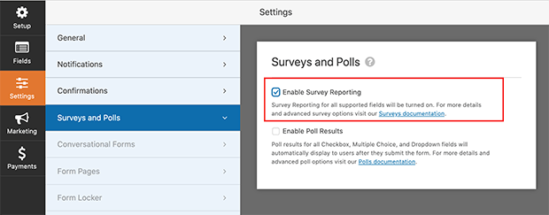 Enable survey reporting for existing WPForm forms