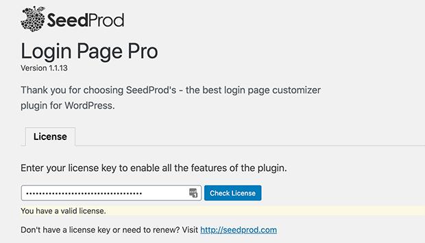 Enter your Login Page Pro license key details
