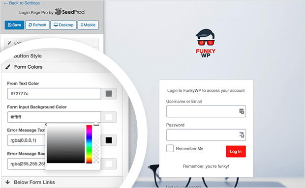 Customize the color of your form's login page