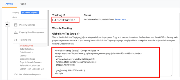 Google analytics global site tag and tracking ID