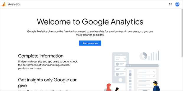 Google Analytics welcome screen