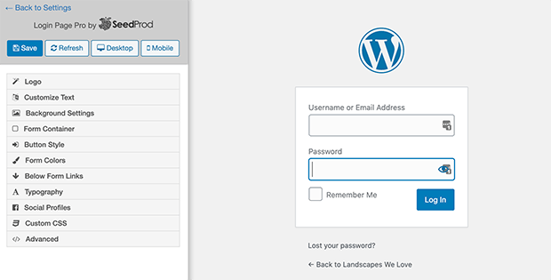 the login page pro builder screen