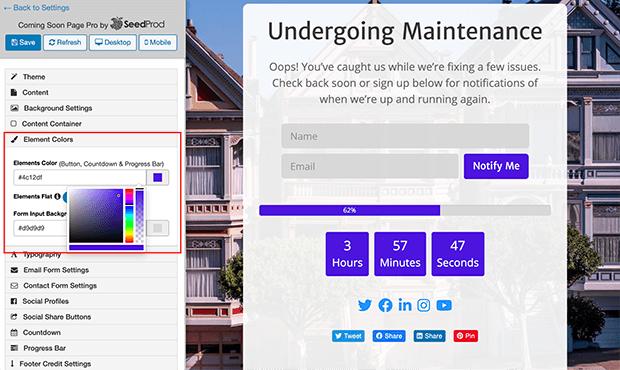Maintenance page color options