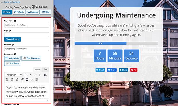 WordPress Maintenance mode page message