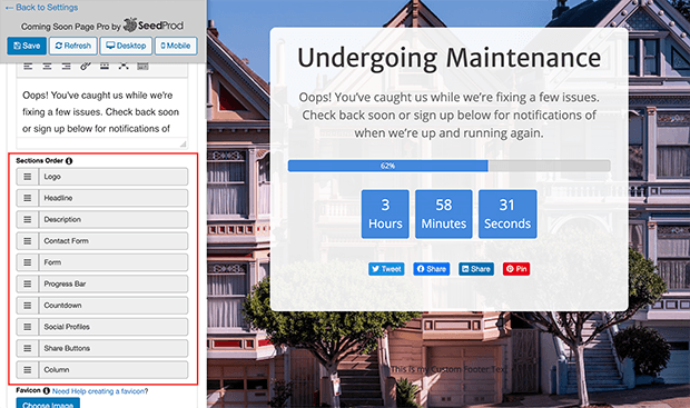 Rearrange elements on your WordPress maintenance mode page