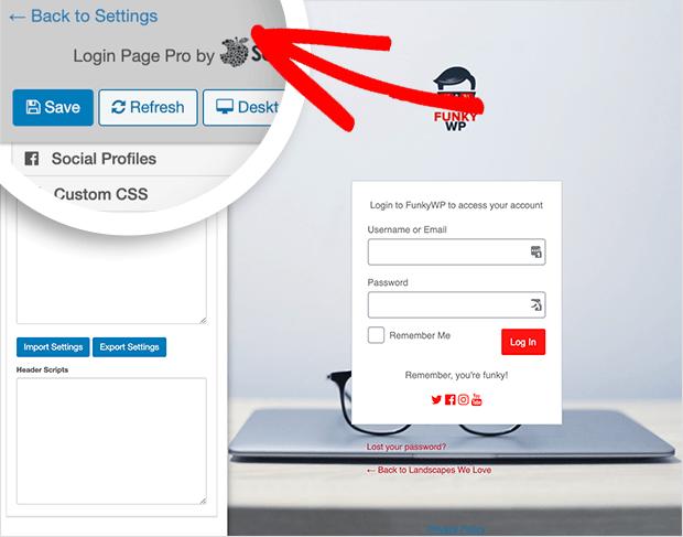Save your custom login page settings