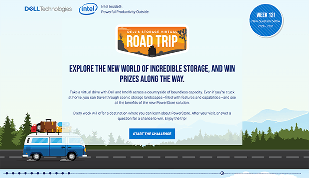 Dell storage virtual road trip giveaway landing page example