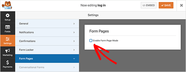 Enable the form pages mode