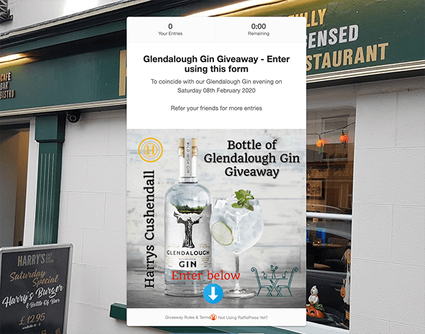 Glendalough Gin giveaway landing page
