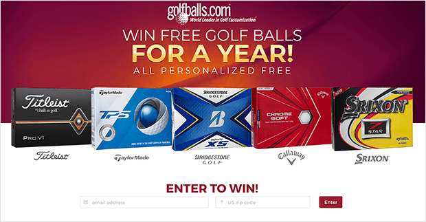 golfballs.com sweepstakes landing page example