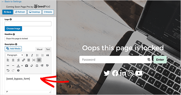Add a password input field on protected pages in WordPress