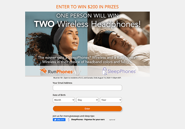 RunPhones contest landing page example