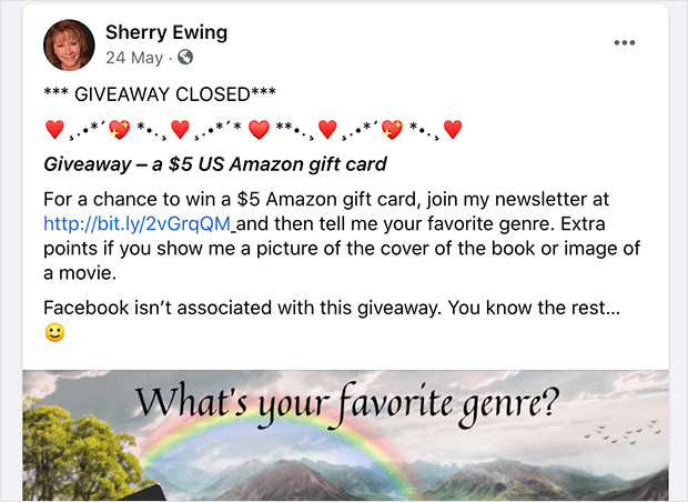 Join a newsletter Facebook giveaway idea