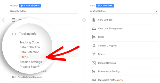 Click the tracking info heading and then the User-ID link in Google Analytics