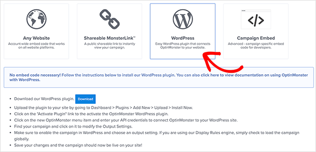 Choose the WordPress option for publishing your exit popup