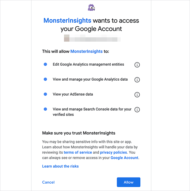 Click Allow to give MonsterInsights access to your Google Analytics data
