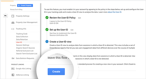 Click the create button to create the User ID View in Google Analytics