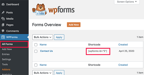 WPForms shotcode