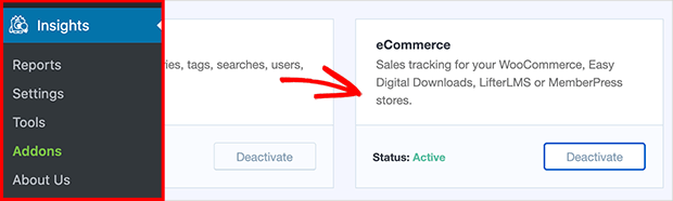 Install and activate the MonsterInsights eCommerce addon