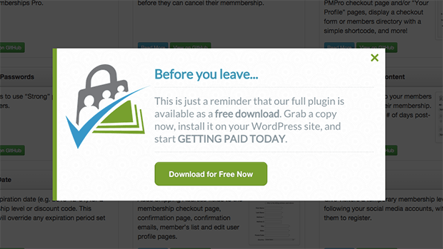 Use exit intent popups to recover abandoning visitors