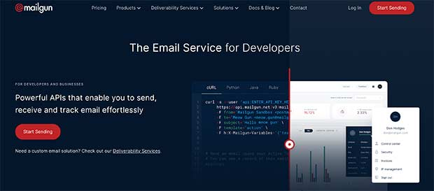 Mailgun is offers one of the best SMTP services for developers