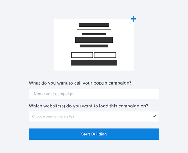 Give your exit popup template a name and connect it to a website