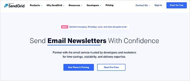 SendGrid cloud-based SMTP email service provider
