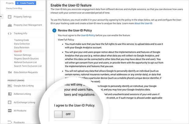 Agree to the Google Analytics User ID  Policy
