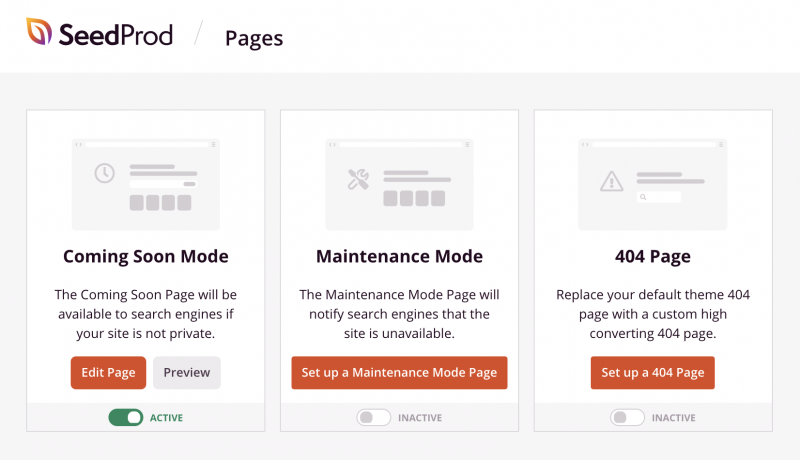 SeedProd page modes