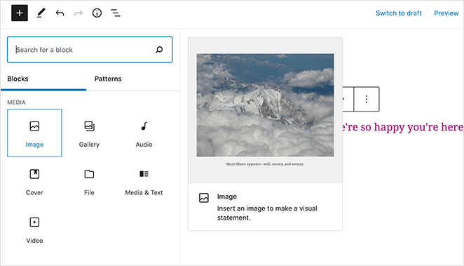 Add an image to your home page with the WordPress image block