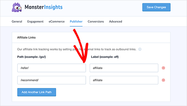 enter you affiliate link prefix to track affiliate links with MonsterInsights in WordPress