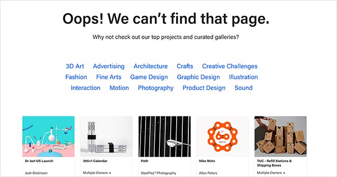 behance best 404 error page message examples with project suggestions
