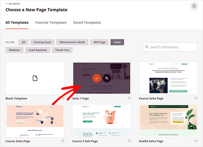 Choose a landing page template for your homepage
