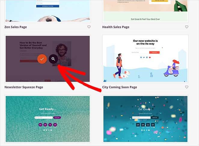 Choose and launch your landing page template