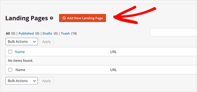 Add a new landing page in WordPress