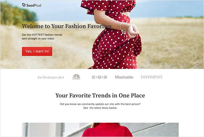 Customized SeedProd landing page template as home page