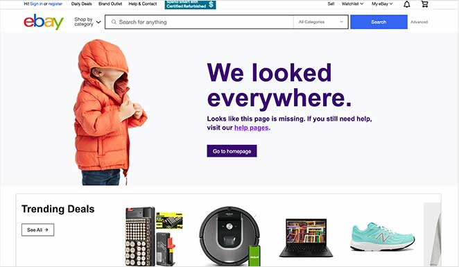 ebay custom 404 page design examples with trending deals