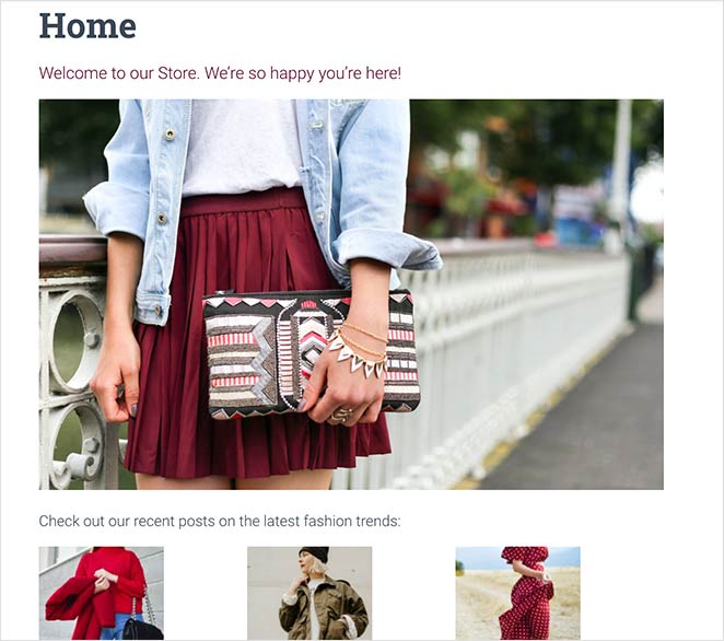 Here's an example of a home page we  edited using the WordPress block editor
