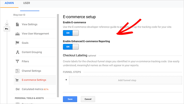 Turn on enhanced ecommerce tracking in goole analytics