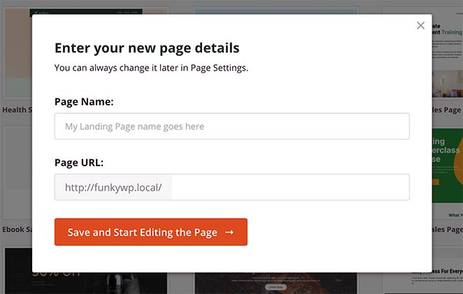 Enter your landing page name and URL details