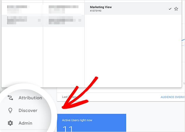 click the admin view in google analytics