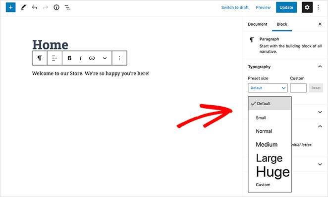 Change the text size of your WordPress home page welcome message