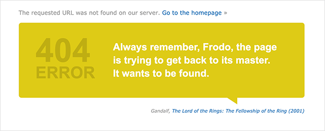 IMDB best 404 page design example